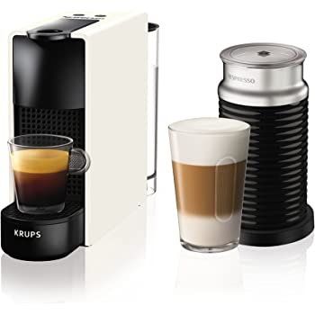 Krups Essenza Mini - Nespresso (1200 W), color negro Essenza, Mini, con Aeroccino 20.4 x 8.4 x 33 cm Blanco: Amazon.es: Hogar