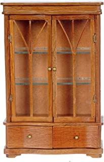 Dollhouse Miniature 1:12 Scale Pecan China Cabinet with 2 Drawers #T7288