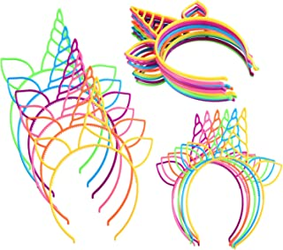 Jovitec 24 Pieces Unicorn Headband Unicorn Horn Hair Hoop for Fancy Dress Cosplay Decoration Supplies, Assorted Colors