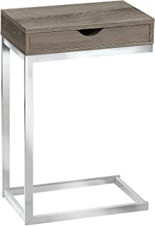 Monarch Specialties I 3254 C Accent Table with Drawer-Chrome Metal Base, Dark Taupe