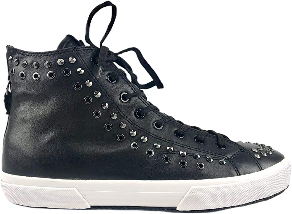 Karl lagerfeld kampus eyelet boot,scarpe sneakers alte per uomo,in ecopelle e borchie KL50054