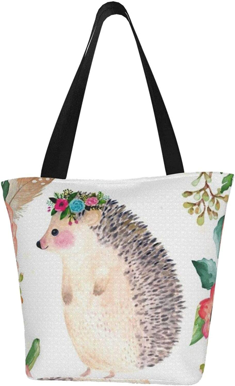 Watercolor Rose Cute Hedgehog Flowers Themed Printed Women Canvas Handbag Zipper Shoulder Bag Work Booksbag Tote Purse Leisure Hobo Bag For Shopping
