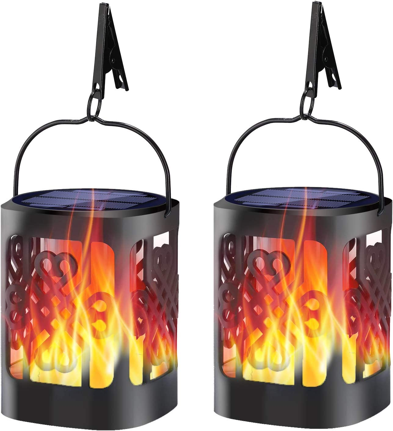 YoungPower Solar Lantern Lights Dancing Flame Waterproof Outdoor Hanging Lanterns Solar Powered Umbrella LED Night Light Dusk to Dawn Auto On/Off Landscape Decorative for Garden Patio Yard, 2 Pack