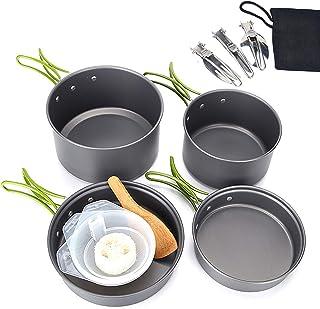 طقم أواني طهي للتخييم من Olytamxi، مجموعة طبخ محمولة صغيرة الحجم حقائب الظهر وأدوات التخييم والأواني ، الألومنيوم المؤكسد