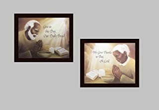 Distressed Mohagany Framed WE GIVE THANKS TO THEE, OH LORD !! & OUR DAILY BREAD; Two 16x20 Art Print Poster (RELIGIOUS/KITCHEN/AFRICAN AMERICAN BLACK ART) Artist AUSTIN (2- M - 14A,B)