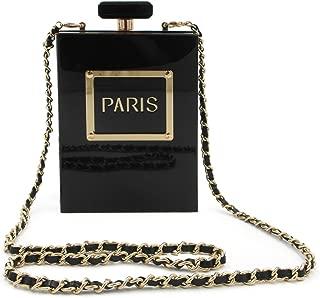 Women Acrylic Black Paris Perfume Design Evening Bags Banquet Chain Shoulder bag