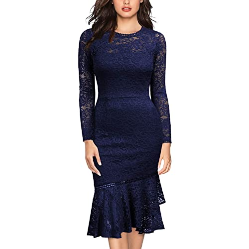 96be922b71c7 Miusol Women's Retro Floral Lace Long Sleeve Wedding Bridesmaid Dress