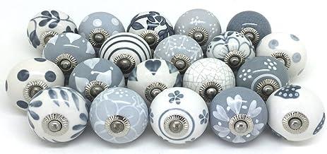 Deurgrepen van keramiek, in vintage-, shabby- en chique stijl, voor kasten of laden, grijs en wit, 10 stuks