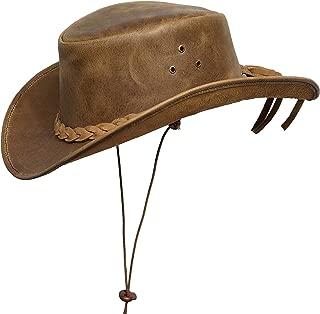 BRANDSLOCK Mens Down Under Leather Cowboy Hat Aussie Bush Outback Tan