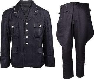 Heerpoint Reproduction Ww2 German Elite M32 Wool Tunic & Breeches Jacket & Trousers Military Uniform Set (Black)