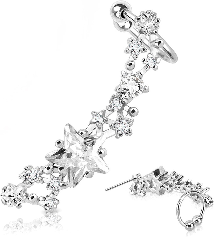 Covet Jewelry Star CZ Set Rhodium Plated Brass Ear Cuff