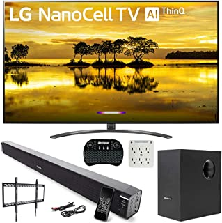 """LG 86SM9070PUA 86"""" 4K HDR LED NanoCell TV (2019) with AI ThinQ and Deco Gear 60W Soundbar with Subwoofer, 2.4GHz Wireless Keyboard, Surge Protector and Fixed TV Wall Mount Bundle"""
