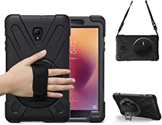 BRAECN Galaxy Tab A 8.0 2017 Case Full-Body Rugged Protective Case with 360 Degree Rotatable Hand Strap/Shoulder Strap for Tab 8.0