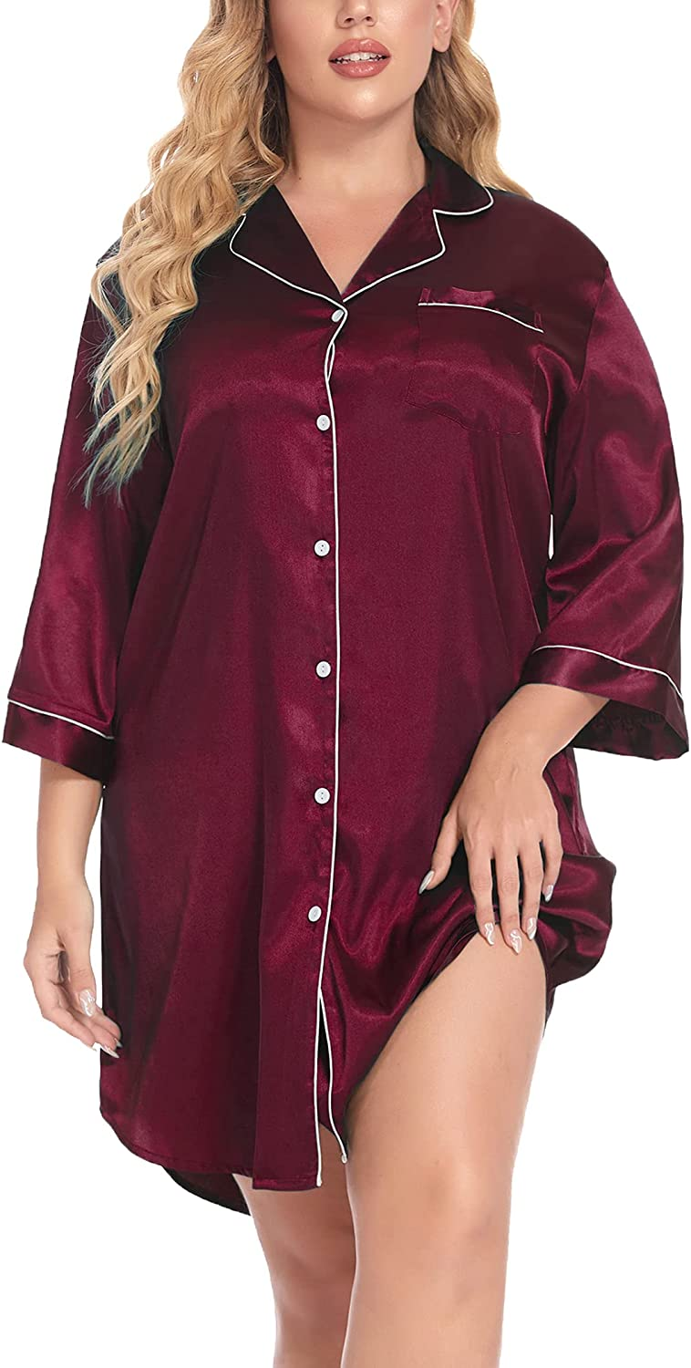 IN'VOLAND Plus High quality new Size Womens Satin latest 4 Sleepwear Sleeve Nightgown 3