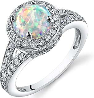 Created White Opal Ring in Sterling Silver, Vintage Halo Design, Round Shape, 7mm, 1.25 Carats, Sizes 5 to 9
