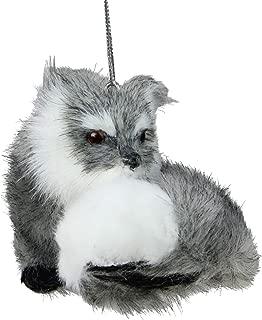 "3"" Gray and White Furry Woodland Fox Christmas Ornament"