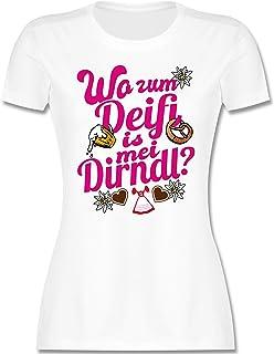 Shirtracer Oktoberfest & Wiesn Damen - Wo zum Deifi is MEI Dirndl pink - Bier und Brezel - Tailliertes Tshirt für Damen und Frauen T-Shirt