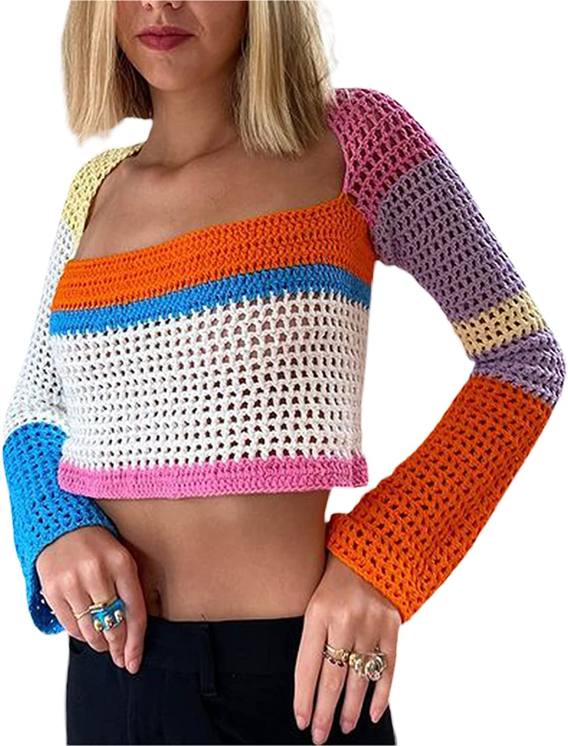 Y2k Women Knit Patchwork Crop Top Long Sleeve Color Block Hollow Out Pullover Jumper Tops E Girl 90S Streetwear