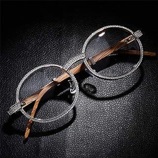 XXZZ Gafas Anteojos Piedras Preciosas Montura de Metal Gafas Modelos de Mareas Moda Anteojos Decorativos Joyas Gafas para niñas (Gafas sin Gafas) [Clase energética A],Plata