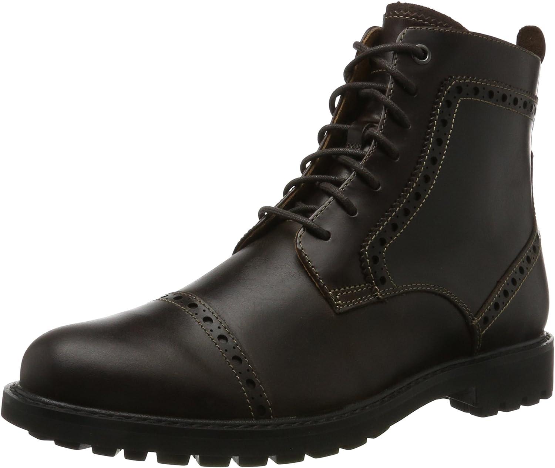 Clarks Montacute Cap - Dark Brown Leather Mens Boots