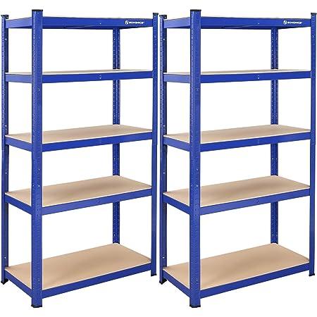 SONGMICS Lot de 2 étagères de Rangement pour Charges Lourdes - 180 x 90 x 45 cm - Charge maximale : 1325 kg - 5 étagères réglables - en métal - pour Atelier, Cave, Garage, Bleu - GLR90Q