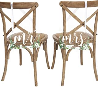 Ling's moment Acrylic Wedding Chair Signs,Mr and Mrs Chair Signs,Greenery Chair Decor for Wedding Ceremony Set of 2