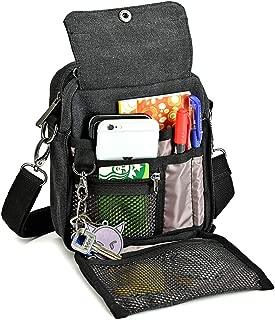 Zicac Men's Small Vintage Multipurpose Canvas Shoulder Bag Messenger Bag Purse (Black)