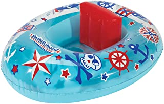 SwimSchool Lil' Skipper Baby Pool Float, Baby Boat with Adjustable Backrest Safety Seat, Inflatable Pool Float, 6 to 18 Months, Blue/Red