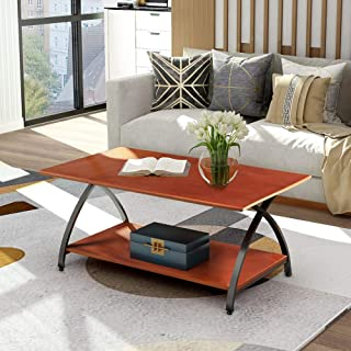 """Rectangular Coffee Table Aplos Rustic Industrial Double-Deck Coffee Table with Curved Cross Legs 47.6""""L x 23.6""""W x 19.8""""H(Dark Cherry)"""