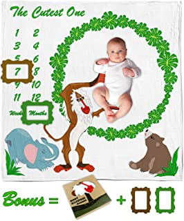 Endanzoo Organic Cotton Baby Monthly Milestone Blanket   Newborn Photography Backdrop with Photo Props for Boy or Girl   Muslin Swaddle Blanket   Baby Elephant, Bear and Monkey