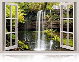 Realistic Window Wall Decal – Peel and Stick Spa Decor for Living Room, Bedroom, Office, Playroom – Waterfall Wall Murals Removable Window Frame Style Nautical Wall Art – Vinyl Poster Wall Stickers