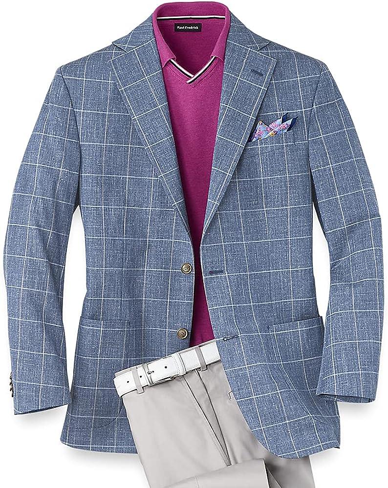 Paul Fredrick Men's Silk and Wool Windowpane Notch Lapel Sport Coat