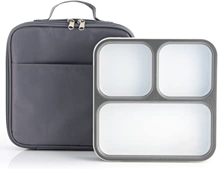 Modetro Ultra Slim Leak Proof Bento Lunchbox with 3 Portion Control Compartments, Includes Matching Insulated Lunch Bag - Ideal for Adults - Bento Box