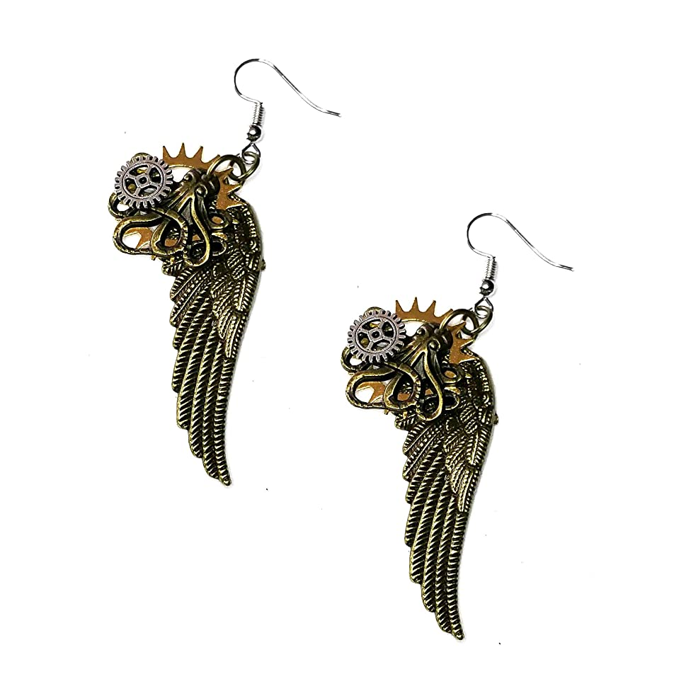Joji Boutique Steampunk Collection: Antiqued Mix-Tone Gear & Cog Angel Wing Drop Earrings