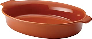 Anolon Vesta Ceramics Au Gratin Bakeware / Baker, Oval - 3 Quart, Persimmon Orange