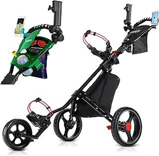 سبد خرید گلف JANUS ، سبد گلف برای باشگاه های گلف ، سبد گلف برای کیف گلف ، چرخ دستی های Golf Push 3 تاشو چرخ ، لوازم جانبی گلف برای مردان / تمرینات و بازی های کودکان