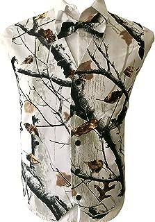 Mens Wedding Vests V-Neck Camo Realtree Outerwear Slim Fit Groom Camouflage Vest