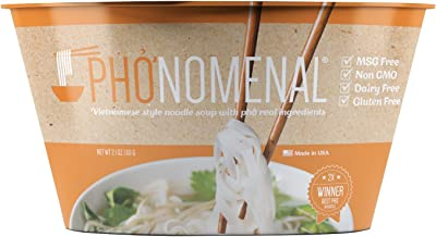 Pho'nomenal Instant Pho ga' Vietnamese Chicken Noodle Soup, Non GMO, MSG Free, 6 Bowl Pack
