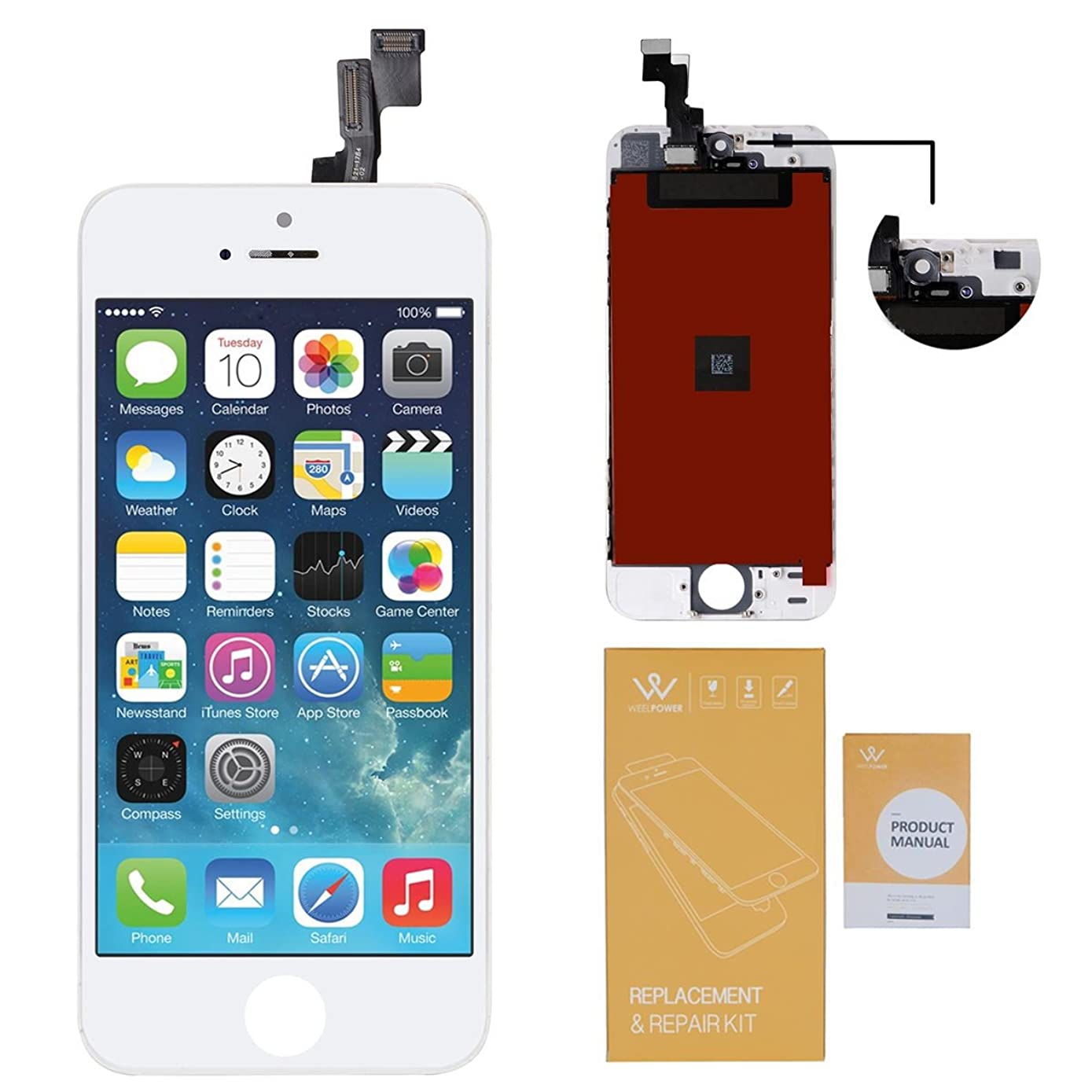 WEELPOWER LCD Touch Screen Digitizer Glass Display Replacement Assembly for iPhone 5S with Repair Tool (White)