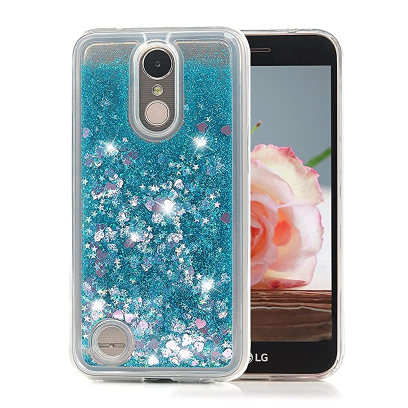 LG K20 Plus Case, LG K20 V Case, LG Harmony Case, LG LV5 Case, LG K10 2107 Case Glitter Bling Sparkly Liquid Cover Resilient Shock Absorption Drop Protection Soft TPU Shell with Dust Plug - Blue