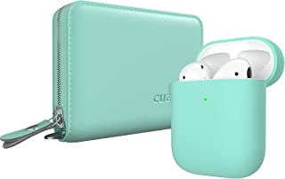 Cuauco Airpods Case,AirPods Leather Case Cover(Genuine Leather),Protective Silicone Case Compatible for Apple AirPods 2 and 1(Front LED Visible) with Keychain,2 Pack Airpods Accesssories(Mint Green)