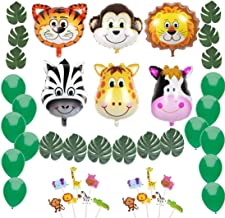 Jungle Safari Theme Party Decorations:Animal Balloons(Zebra,Tiger,Lion,Monkey,Giraffe,Cow), Green Palm Leaves, Balloons, Cupcake Topper-Supplies and Favors for Kids Boys Birthday Baby Shower Decor