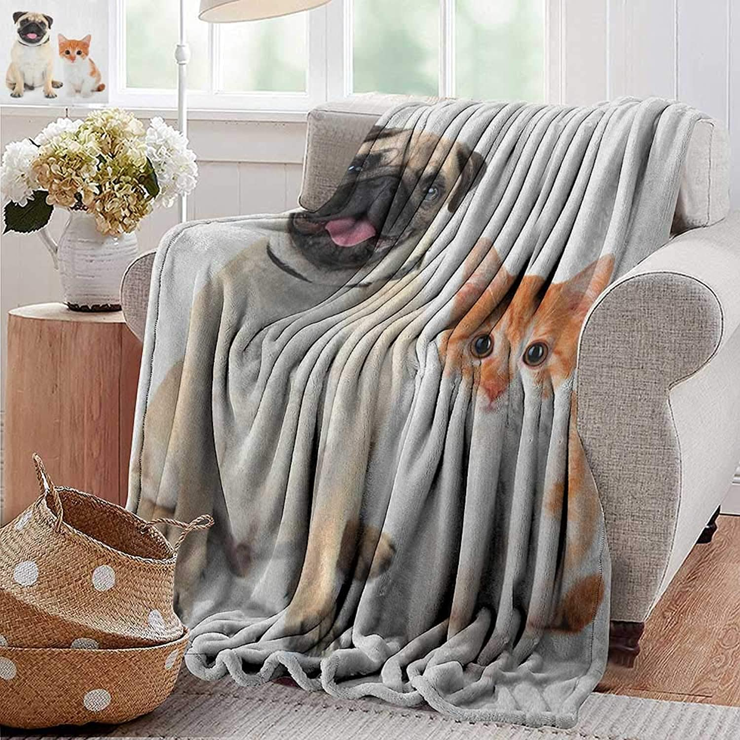 Weighted Blanket for Kids,Pug,Adorable Kitten and Puppy Photography Cute Animal Fun Young Pets Happy Image, Cream orange White,Weighted Blanket for Adults Kids, Better Deeper Sleep 35 x60