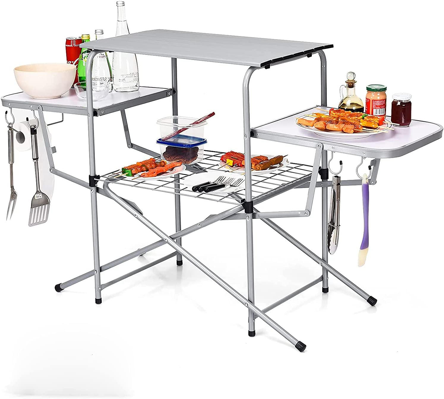 Goplus outlet Folding Grill Table Aluminum Tab Camping Rapid rise Kitchen Outdoor