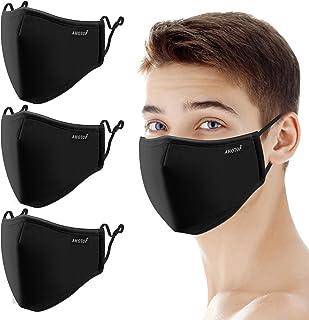 Face Mask Reusable Cloth Face Mask Washable Adjustable, Black Designer Fabric Dust Masks Breathable Facial Cover, 3PCS