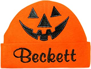 Embroiered Cute Pumpkin Baby Hat - Halloween Infant Jack O' Lantern Baby Hat with or Without Personalized Name (Orange Hat/Personalized)