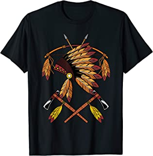 Native American War Bonnet Bow Arrows Feathers And Tomahawk T-Shirt