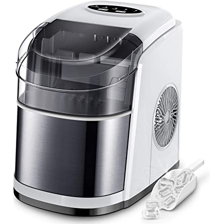 Ice Maker Countertop Machine with Self-Cleaning Function,26LBS in 24 Hours, 9 Bullet Cubes Ready in 6 Mins, Compact Ice Cube Maker with Ice Scoop & Basket for Home Kitchen Office Bar (White)