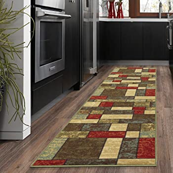 "Ottomanson Ottohome Collection Multi Color Contemporary Boxes Design Runner Skid (Non-Slip) Rubber Backing (20""X59"") Area Rug, 20"" x 59"", Multicolor"