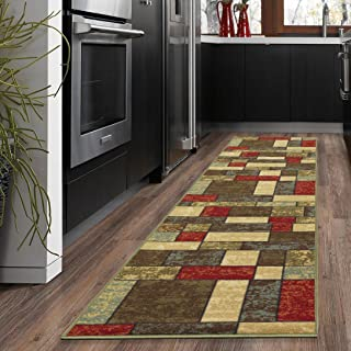 Ottohome Collection Multi Color Contemporary Boxes Design Runner Rug With Non-Skid (Non-Slip) Rubber Backing (20